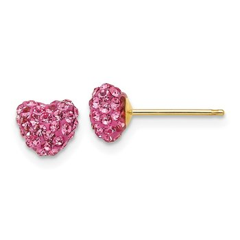 14k Post Rose Crystal 6mm Heart Earrings