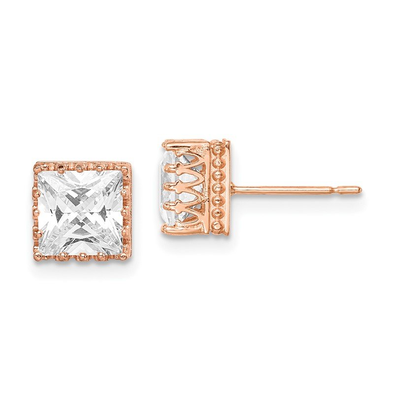 Quality Gold 10k Tiara Collection 7mm Rose Gold Polished Square CZ Earrings