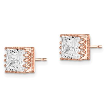 10k Tiara Collection 7mm Rose Gold Polished Square CZ Earrings