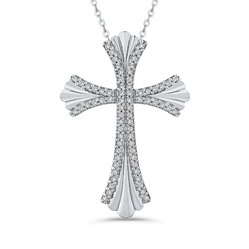Essentials 10K White Gold 1/5 Ct Diamond Cross Pendant with Chain