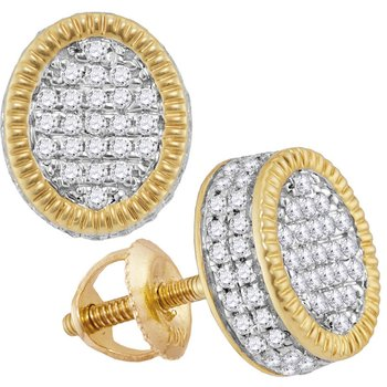 10kt Yellow Gold Mens Round Diamond Fluted Oval Cluster Stud Earrings 3/4 Cttw