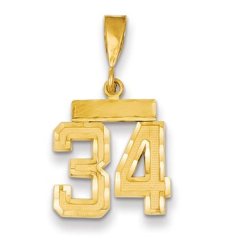 14k Small Diamond-cut Number 34 Charm