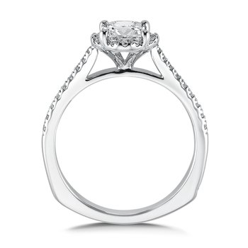 Floral shape halo .17 ct. tw., 3/4 ct. Princess cut center.
