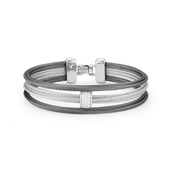 Grey & Steel Grey Cable Small 3 Row Simple Stack Bracelet with 18kt White Gold &  Diamonds
