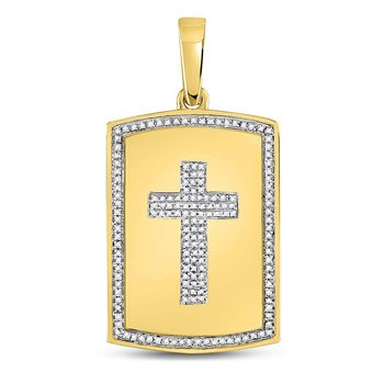 10kt Yellow Gold Mens Round Diamond Cross Dog Tag Charm Pendant 1/3 Cttw