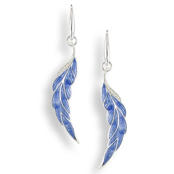 Blue Leaf Wire Earrings.Sterling Silver-White Sapphires