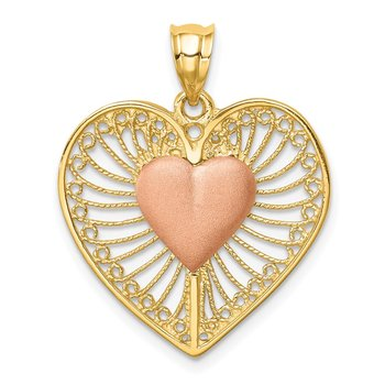 14K Two-tone Brushed & Polished Heart Pendant