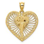 Quality Gold 14K Two-tone Brushed & Polished Heart Pendant
