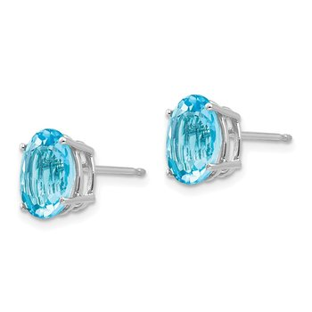 14k White Gold 9x7mm Oval Blue Topaz Earrings