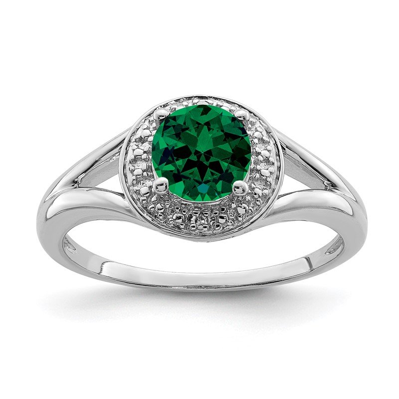 Quality Gold Sterling Silver Rhodium-plated Diam. & Created Emerald Ring