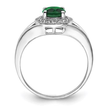 Sterling Silver Rhodium-plated Diam. & Created Emerald Ring