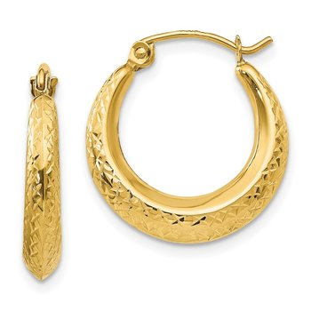 14k Madi K Textured Hollow Hoop Earrings