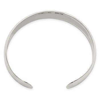Sterling Silver 13.5mm Hammered Cuff Bangle