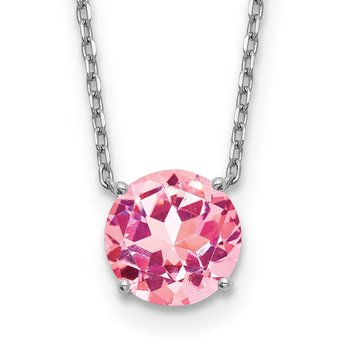 Sterling Silver RH-plated with 2 inch ext Pink Swarovski Crystal Necklace