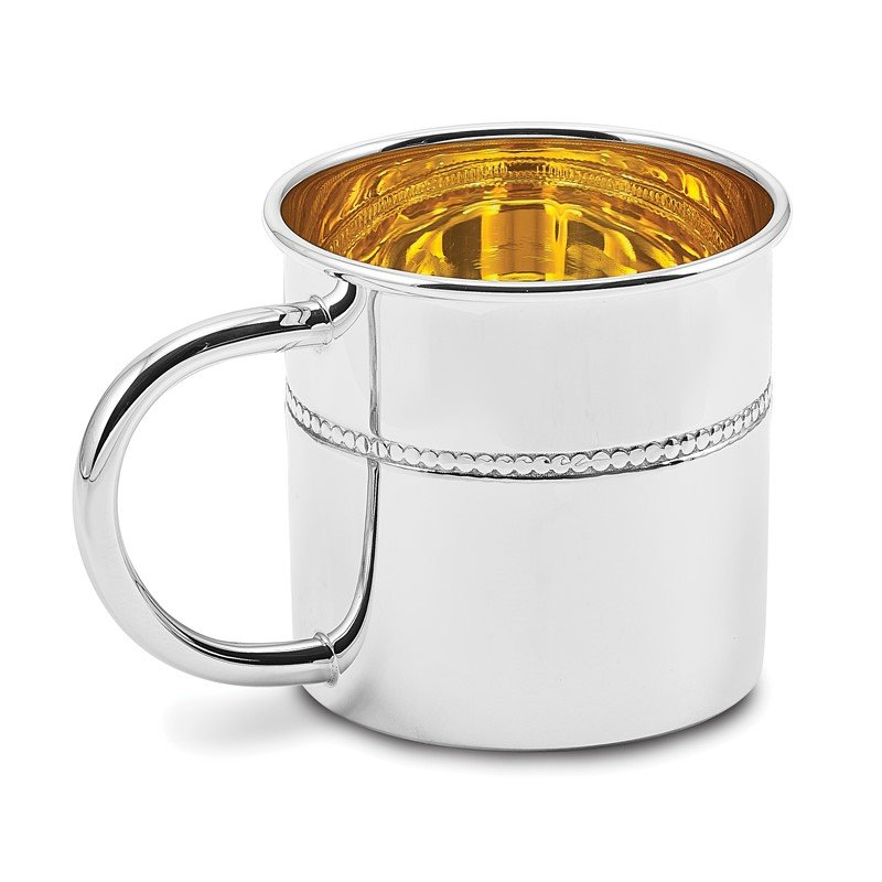 Quality Gold Sterling Silver Beaded Baby Cup