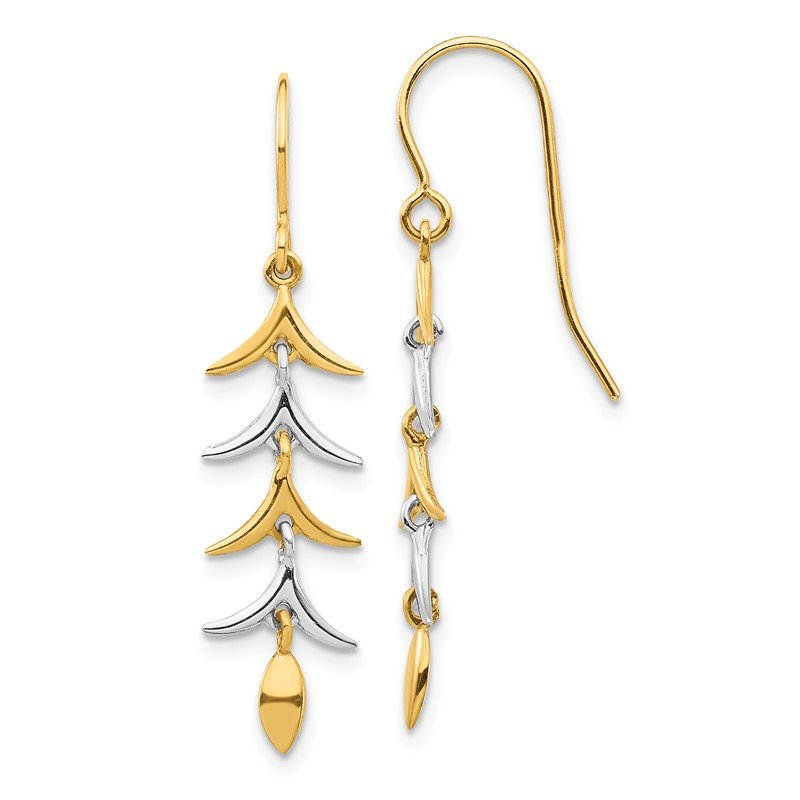 Quality Gold 14K Two Tone Dangle Earrings