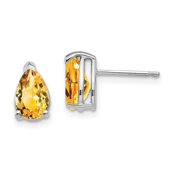 14k White Gold 8x5mm Pear Citrine Earrings