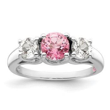 Sterling Silver Rhod-plated Survivor Clear/Pink Swarovski Topaz Pamela Ring