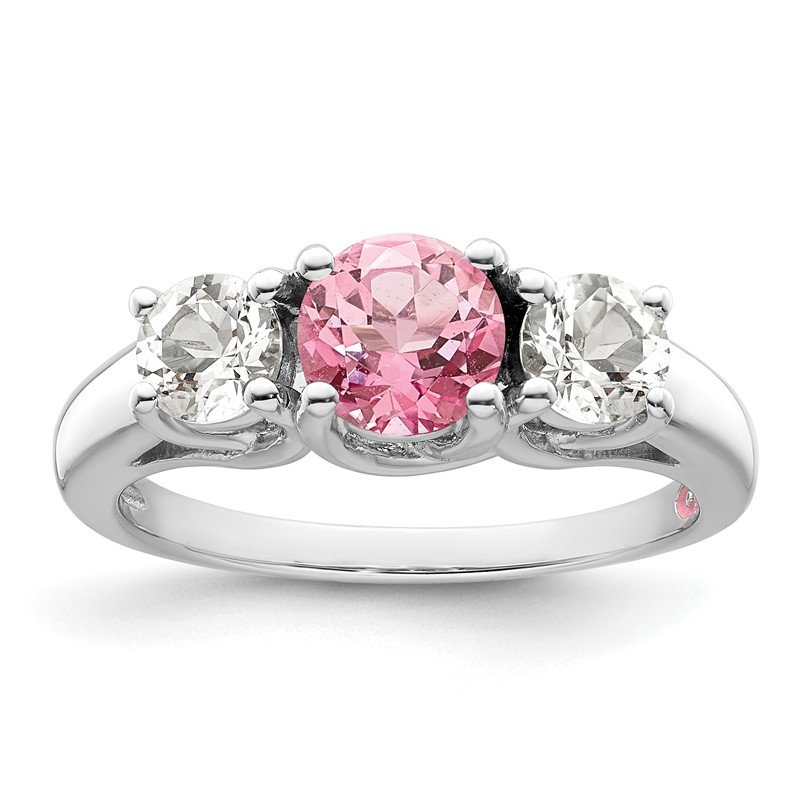 Quality Gold Sterling Silver Rhod-plated Survivor Clear/Pink Swarovski Topaz Pamela Ring