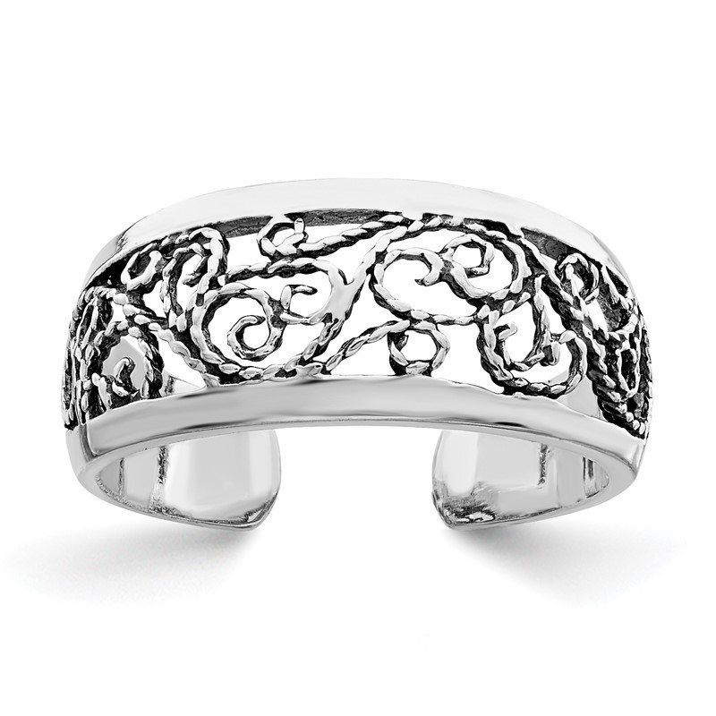 Arizona Diamond Center Collection Sterling Silver Antiqued Floral Toe Ring