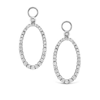 Diamond Oval Earring Charms in 14k White Gold with 66 Diamonds weighing .70ct tw.
