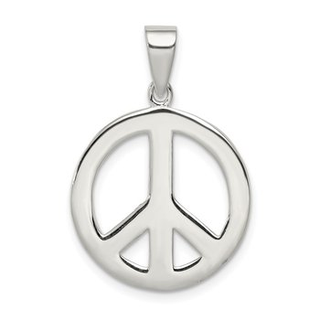 Sterling Silver Round Polished Peace Pendant