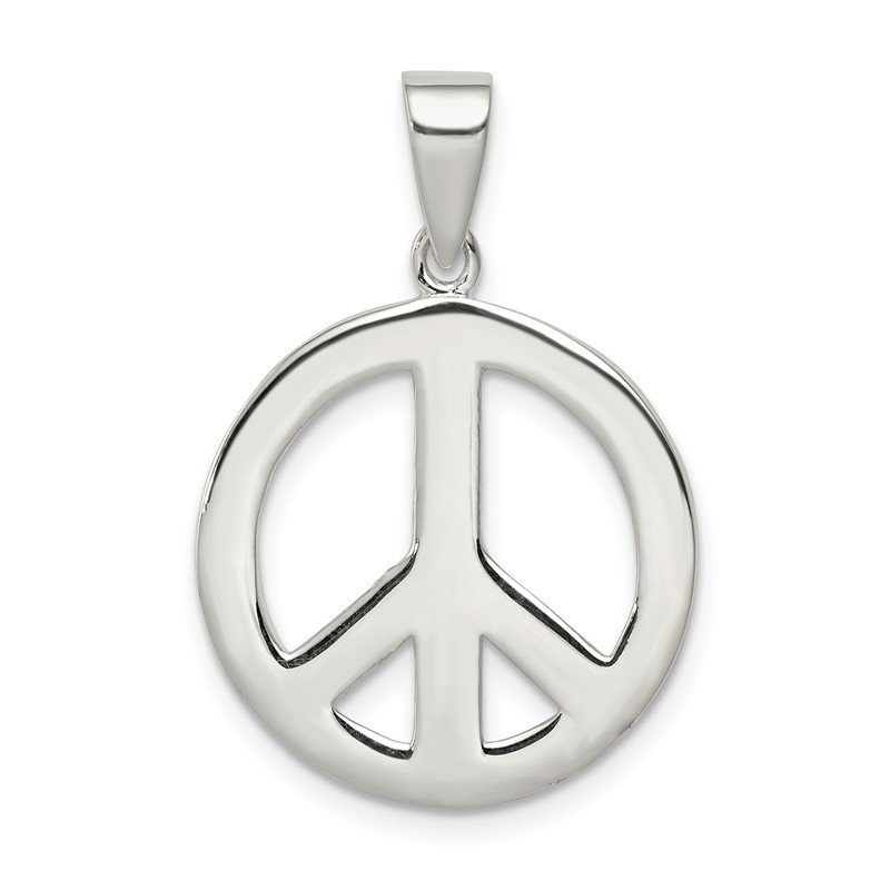 Quality Gold Sterling Silver Round Polished Peace Pendant