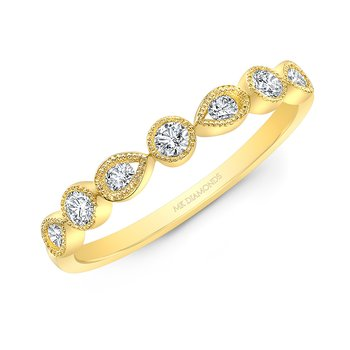 Yellow Gold Alternating Round And Pear Shape Stackable Band