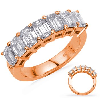 Rose Gold Emerald Cut Diamond Band