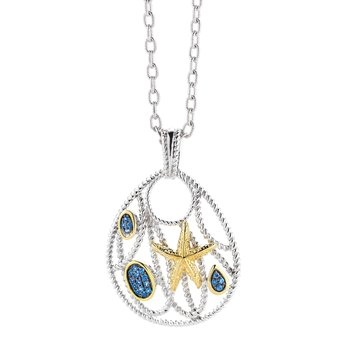 "Sterling Silver and 14K Yellow Gold Starfish Pendant with Sapphires 1"" long by 1"" wide"