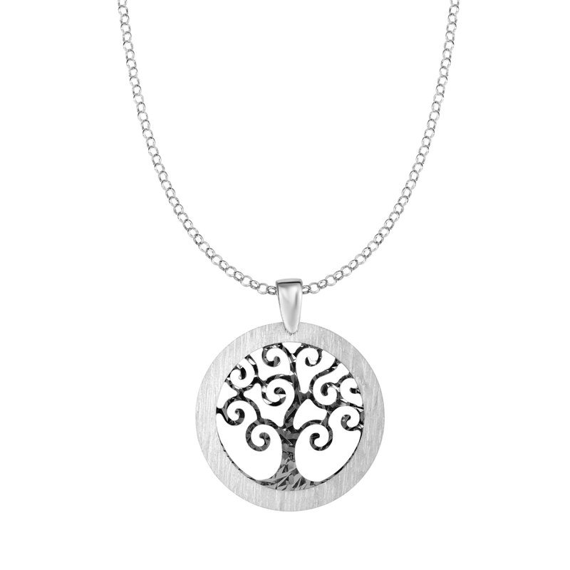 Royal Chain Silver Matte Border Tree of Life Necklace