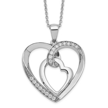 Sterling Silver CZ My Heart To Yours 18in Necklace