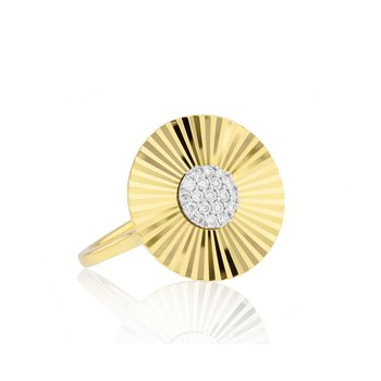 Yellow gold diamond large Aura ring