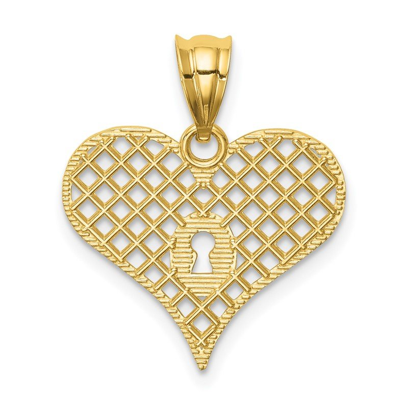 Quality Gold 14K Polished Heart with Key Hole Pendant