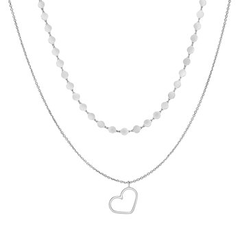 Silver Cable & Disc Chain Heart Choker Necklace