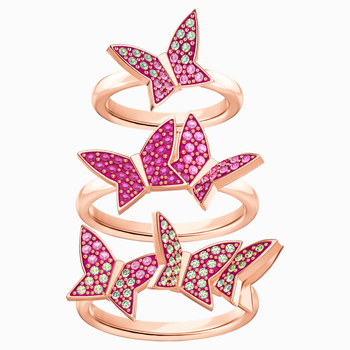 Lilia Ring Set, Multi-colored, Rose-gold tone plated