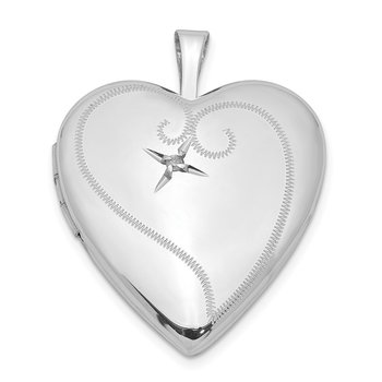 Sterling Silver Rhodium-plated & Dia. 20mm D/C Heart Locket