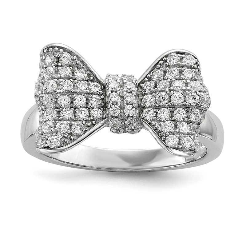 Quality Gold Sterling Silver & CZ Brilliant Embers Bow Ring