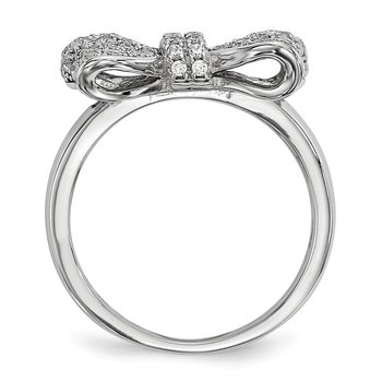 SS Rhodium-Plated CZ Brilliant Embers Bow Ring