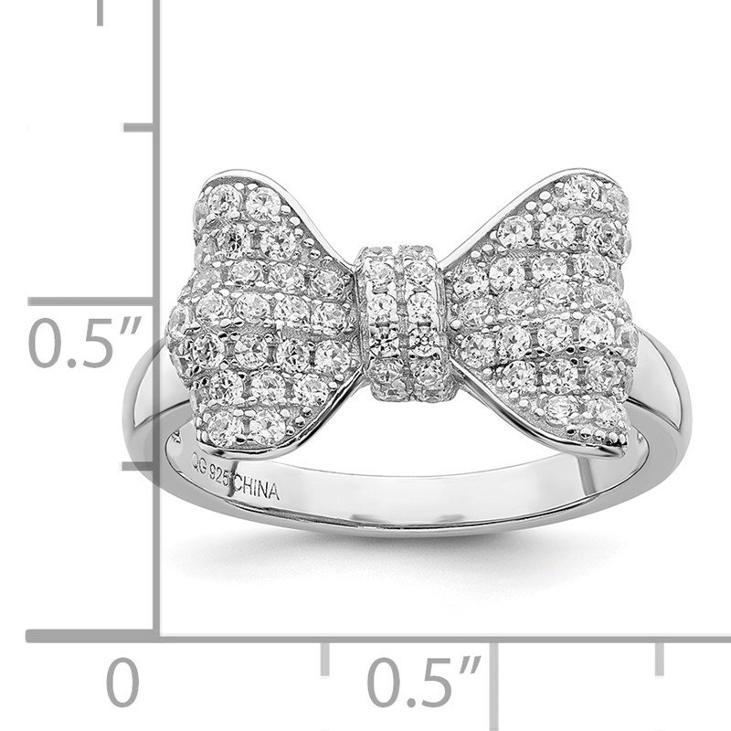 Quality Gold SS Rhodium-Plated CZ Brilliant Embers Bow Ring