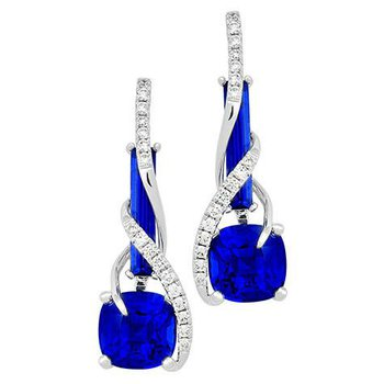 Blue Sapphire Earrings-CE4148WBS