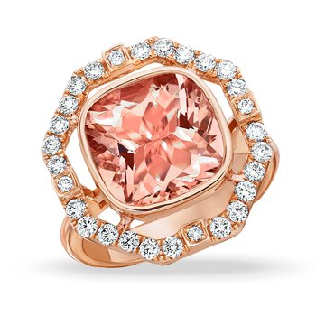 Rose Morganite & Diamond Halo Ring 18KR