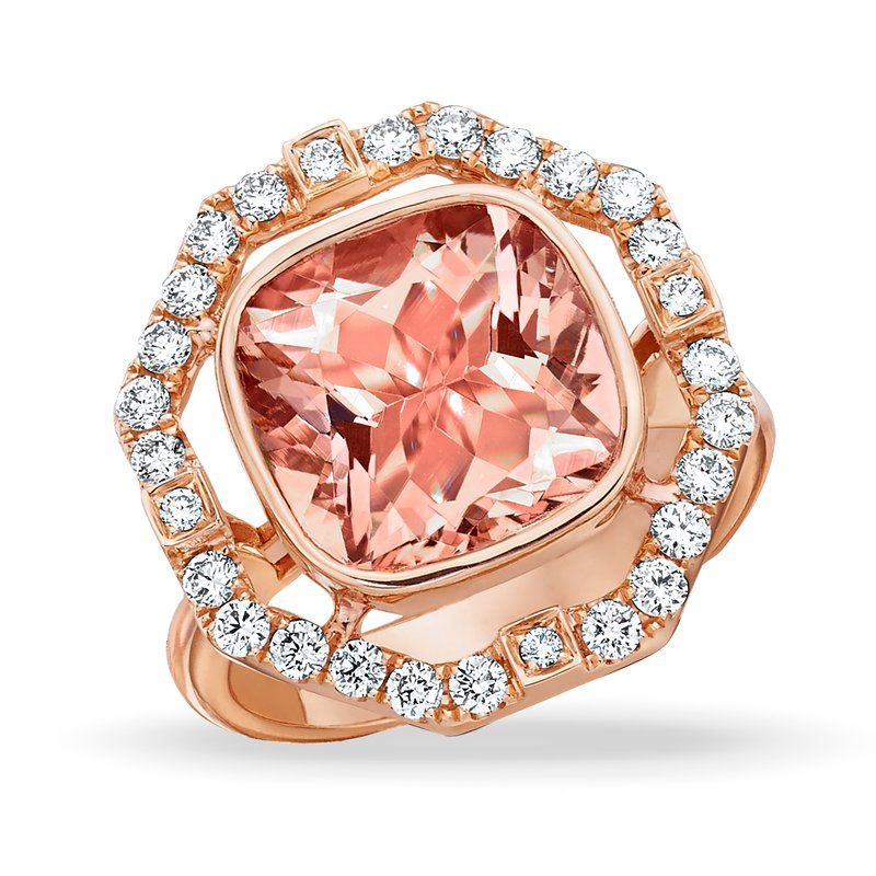 MAZZARESE Couture Rose Morganite & Diamond Halo Ring 18KR