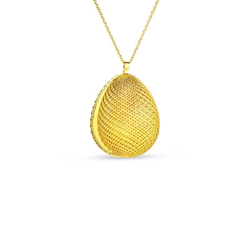 Roberto Coin 18KT GOLD OVAL PENDANT WITH DIAMONDS