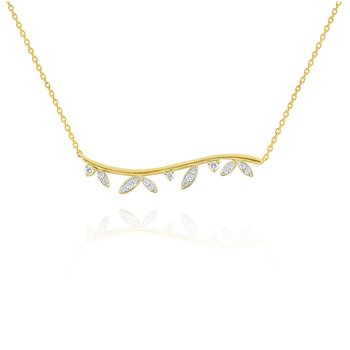 14k Gold and Diamond Laurel Curved Bar Necklace