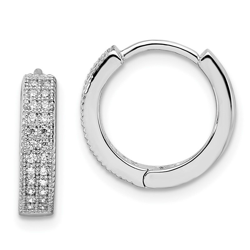 Quality Gold SS Rhodium-Plated CZ Brilliant Embers Hinged Hoop Earrings