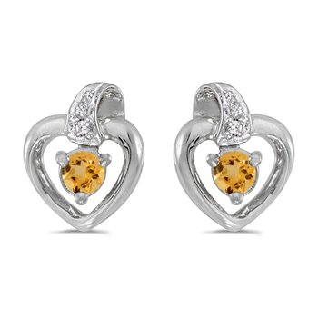 10k White Gold Round Citrine And Diamond Heart Earrings