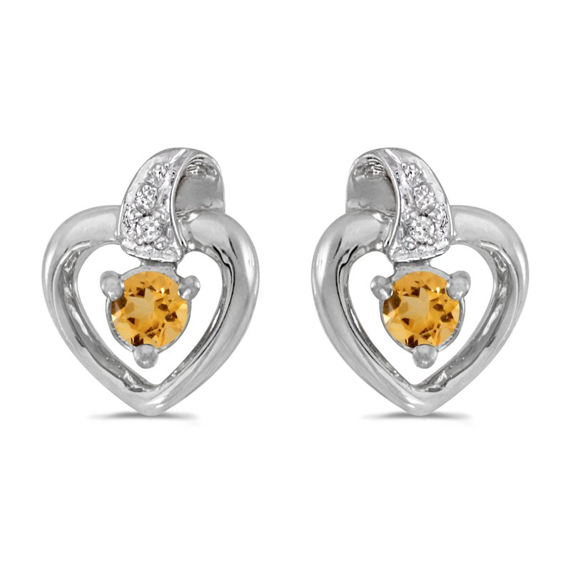 Color Merchants 10k White Gold Round Citrine And Diamond Heart Earrings