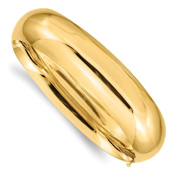14k 11/16 Oversize High Polished Hinged Bangle Bracelet