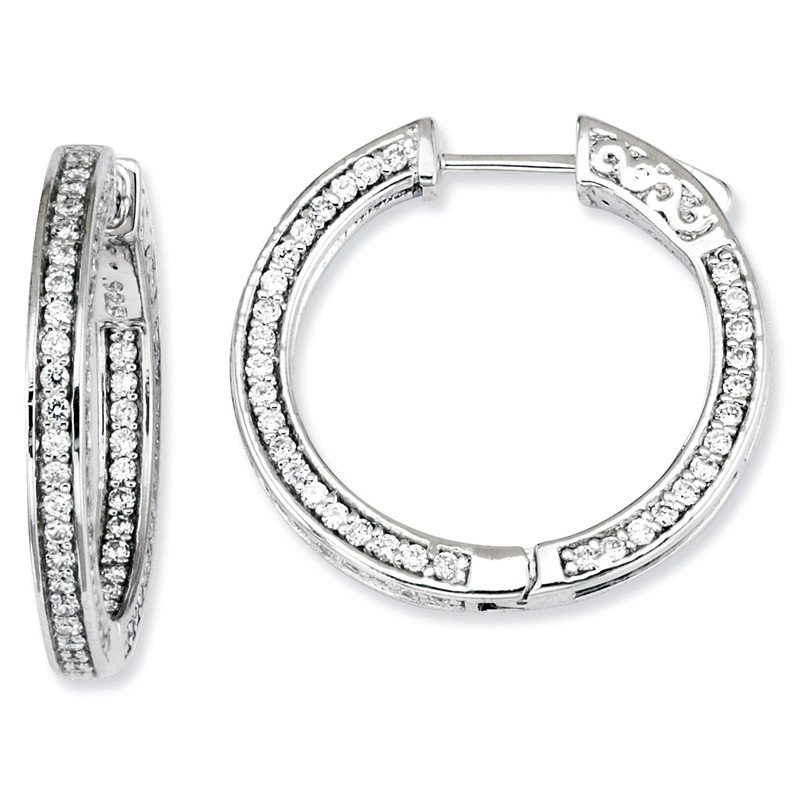 Quality Gold Sterling Silver CZ 200 Stones In and Out Round Hoop Earrings